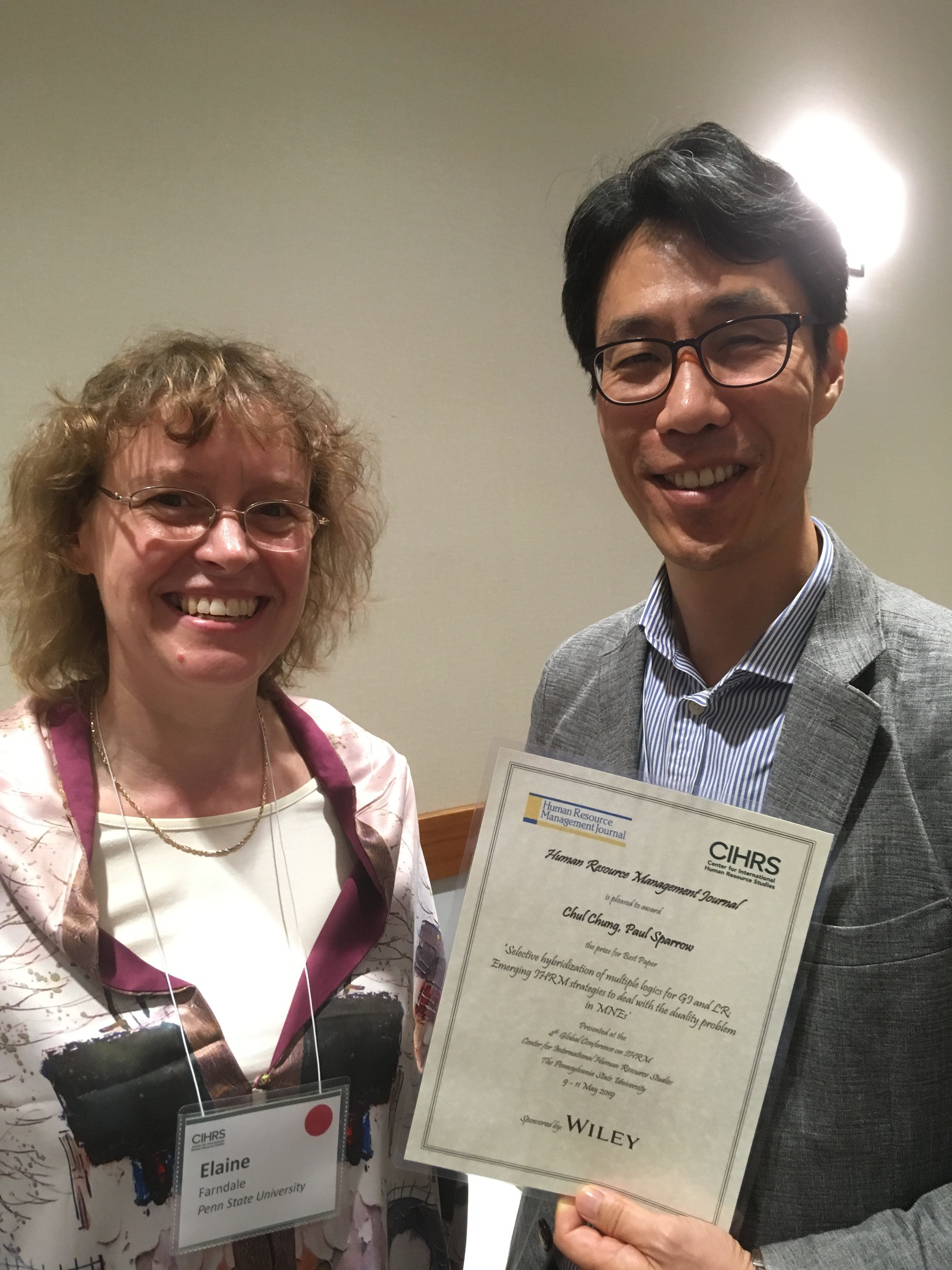 Dr Chul Chung Best Paper