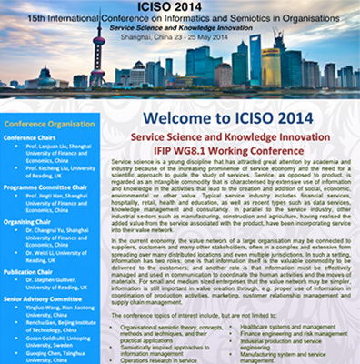 15th International Conference on Informatics and Semiotics in Organisations (ICISO 2014)