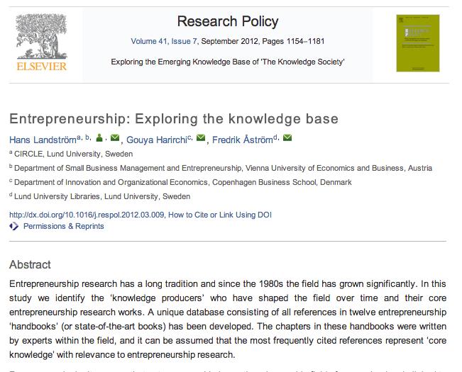 Entrepreneurship in Reading