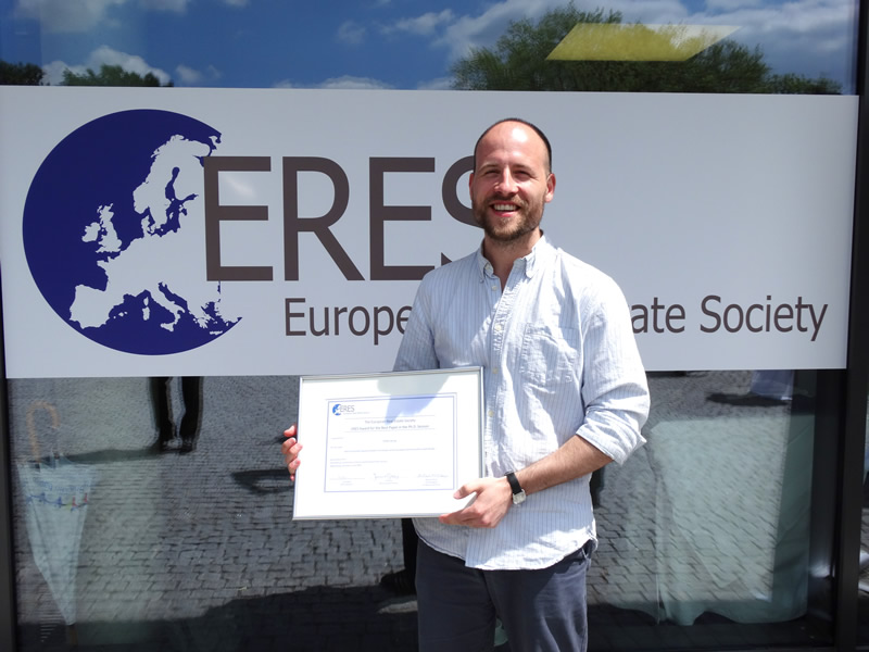 Real Estate and Planning PhD student wins ERES Award for the Best Paper