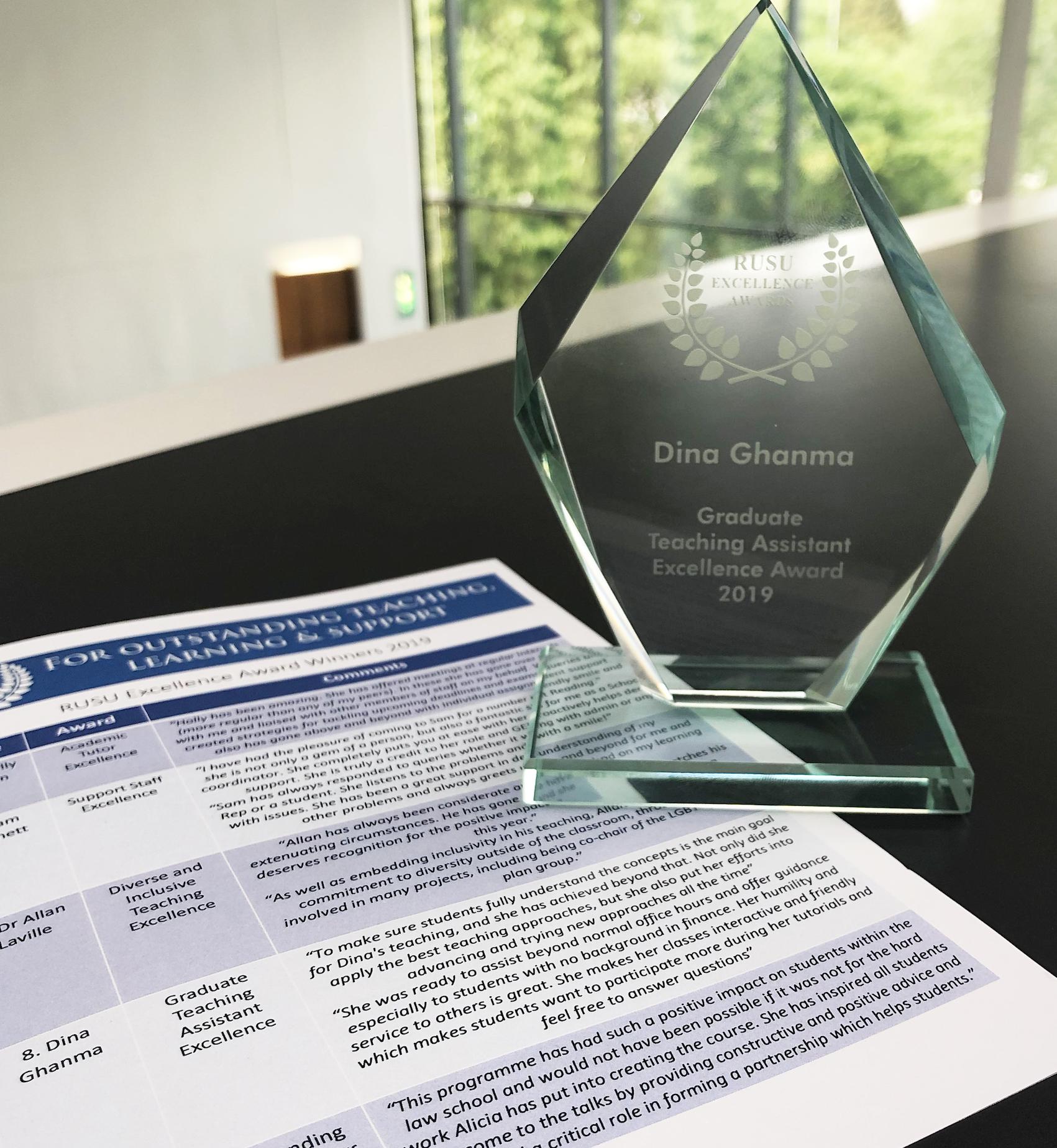 Winner of the RUSU Excellence Award