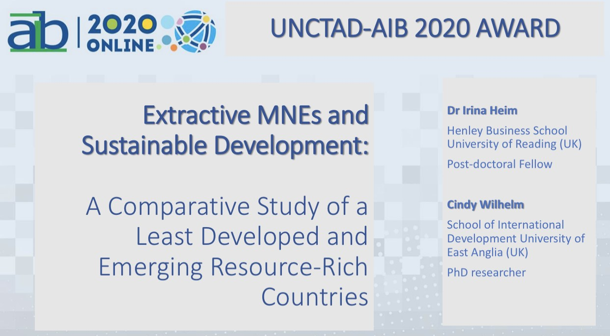 Dr Irina Heim's Research Nominated for UNCTAD-AIB Award 2020